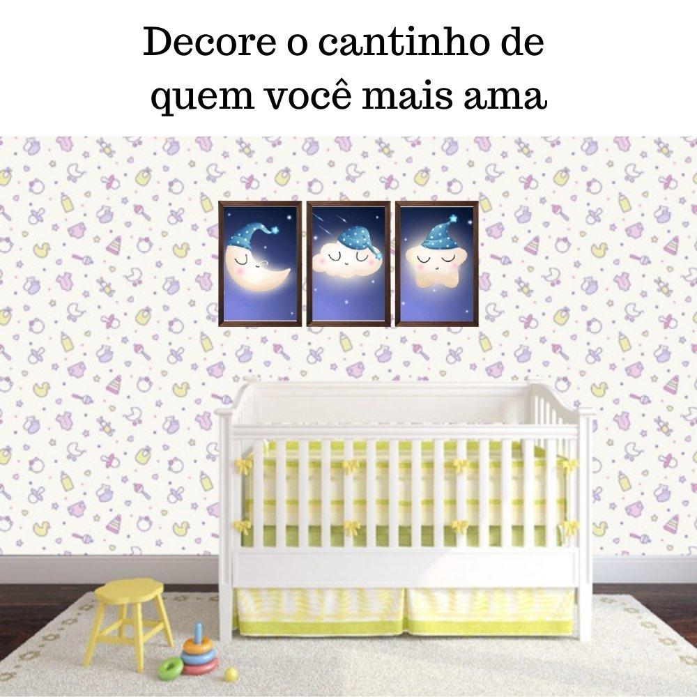 Quadro decorativo infantil lua nuvem e estrela sonhadora com acrílico 30x20 marrom