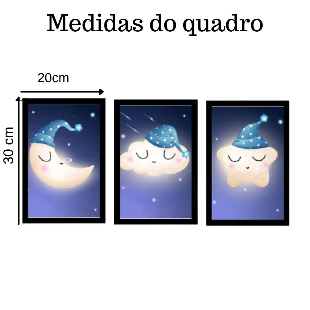 Quadro decorativo infantil lua nuvem e estrela sonhadora com acrílico 30x20  preto