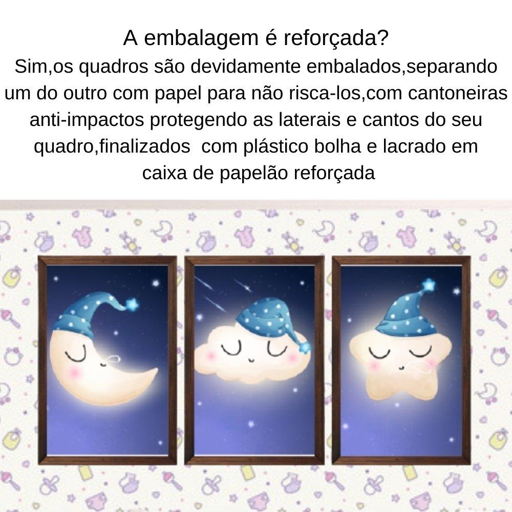 Quadro decorativo infantil lua nuvem e estrela sonhadora com acrílico 40x30  marrom