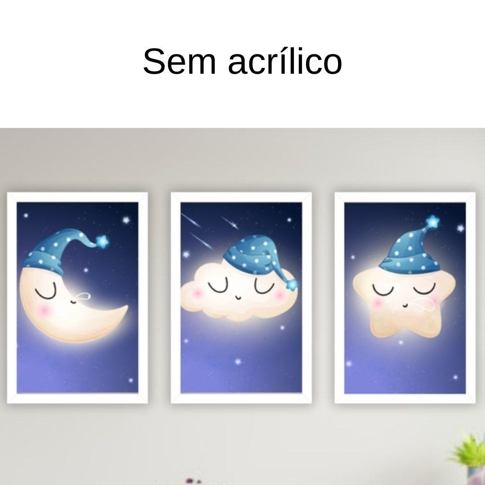 Quadro decorativo infantil lua nuvem e estrela sonhadora sem acrílico 30x20  branco