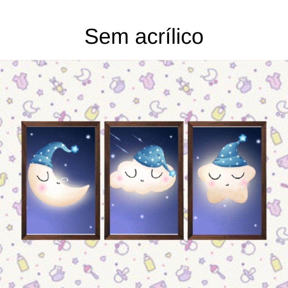 Quadro decorativo infantil lua nuvem e estrela sonhadora sem acrílico 30x20 marrom