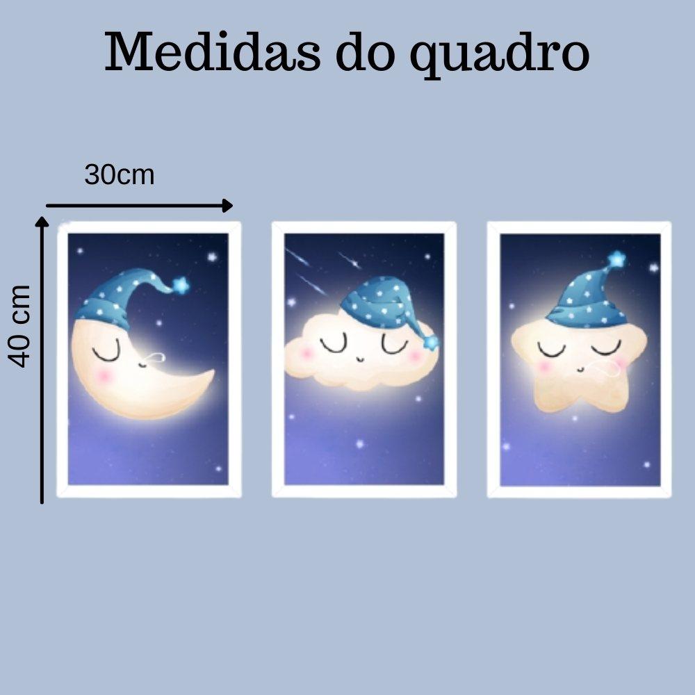 Quadro decorativo infantil lua nuvem e estrela sonhadora sem acrílico 40x30  branco