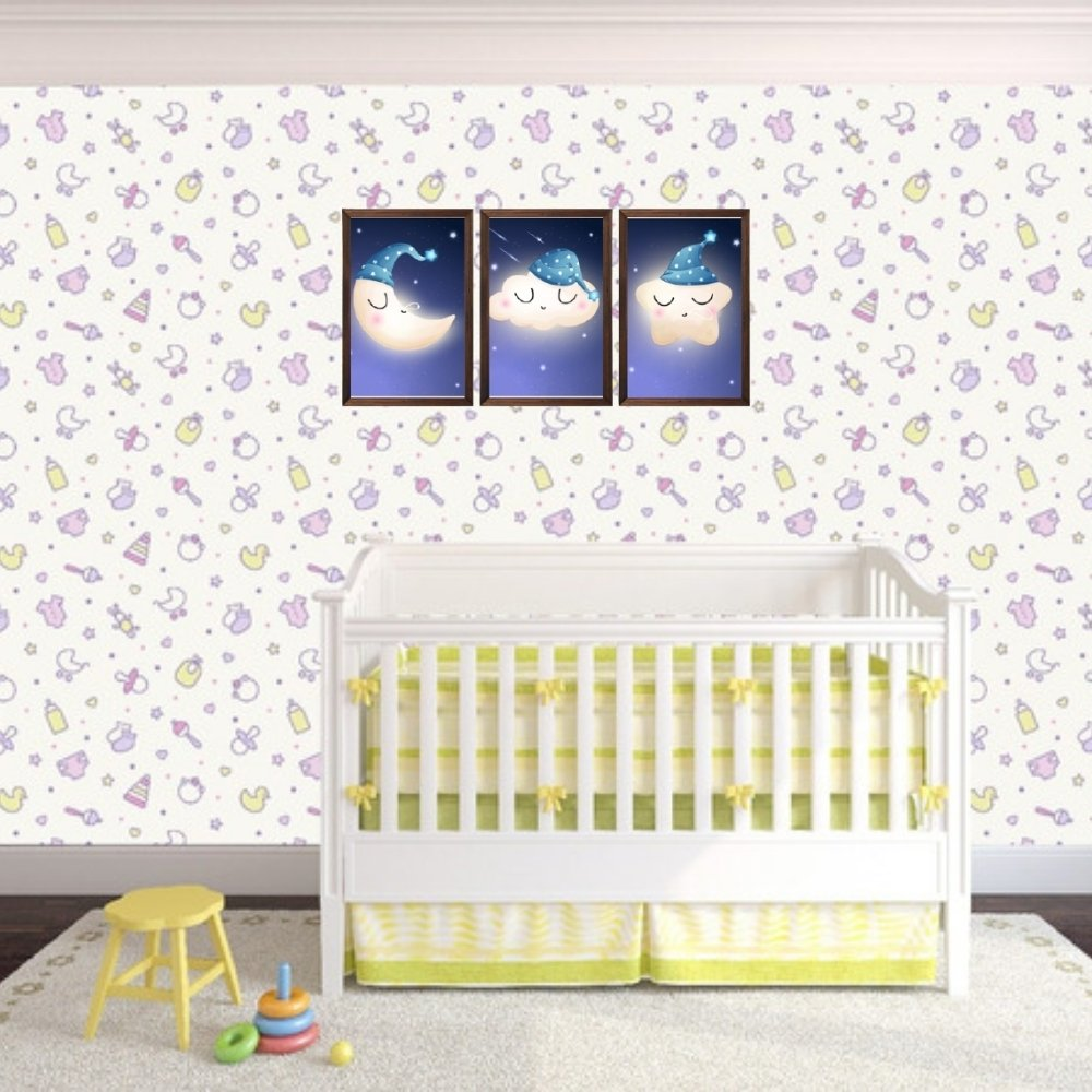 Quadro decorativo infantil lua nuvem e estrela sonhadora sem acrílico 40x30  marrom