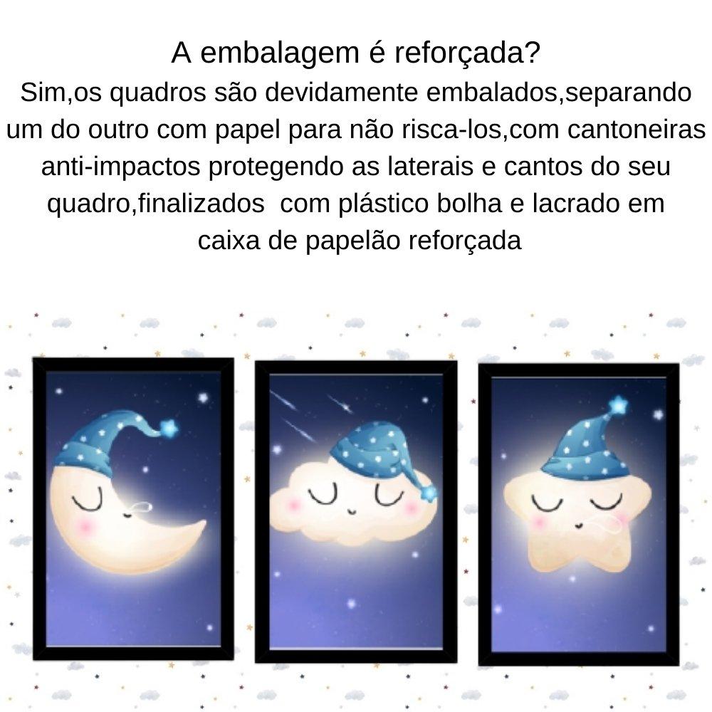 Quadro decorativo infantil lua nuvem e estrela sonhadora sem acrílico 40x30  preto