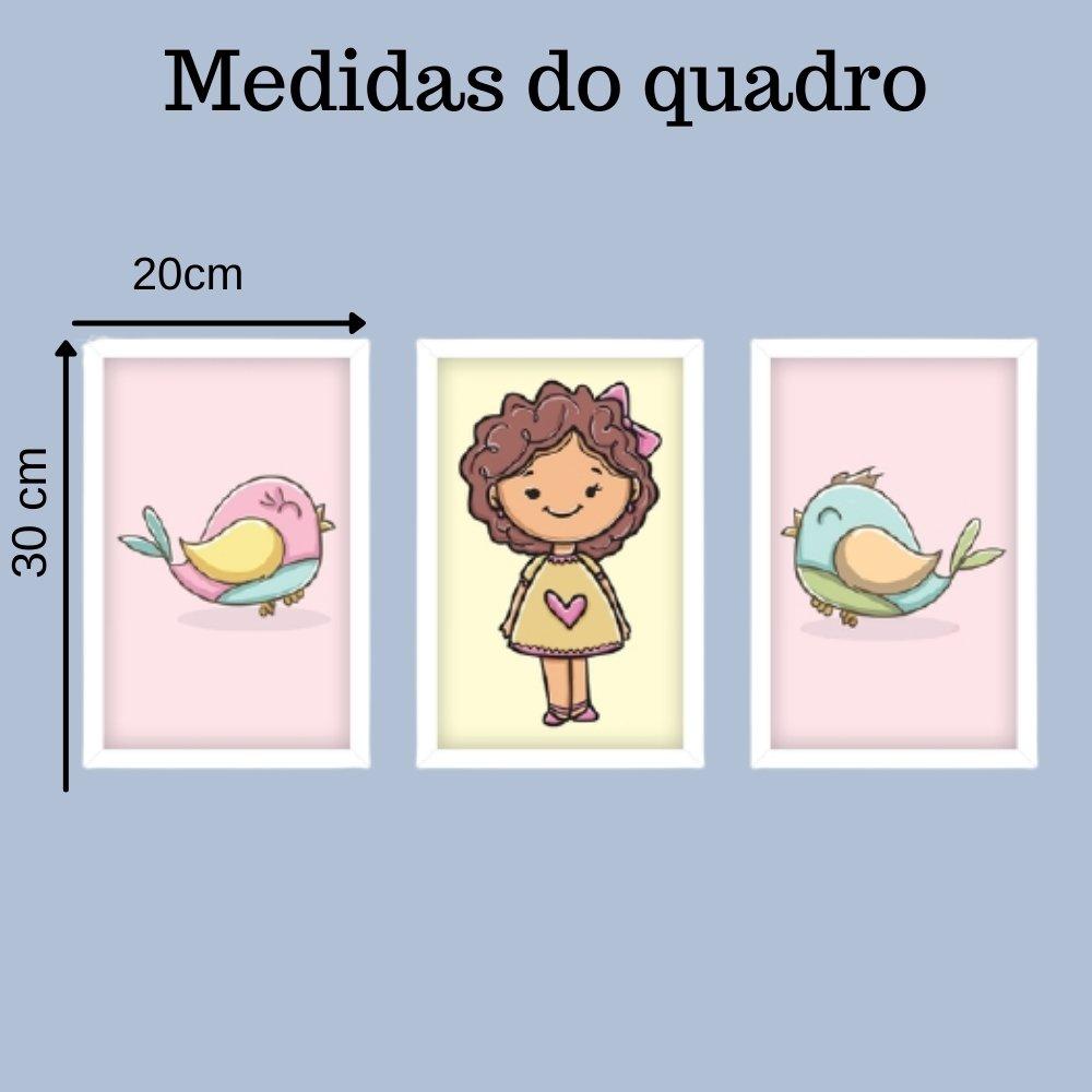 Quadro decorativo infantil menina com acrílico 30x20  branco