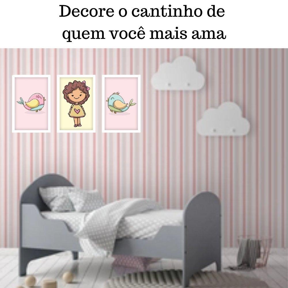 Quadro decorativo infantil menina com acrílico 40x30  branco