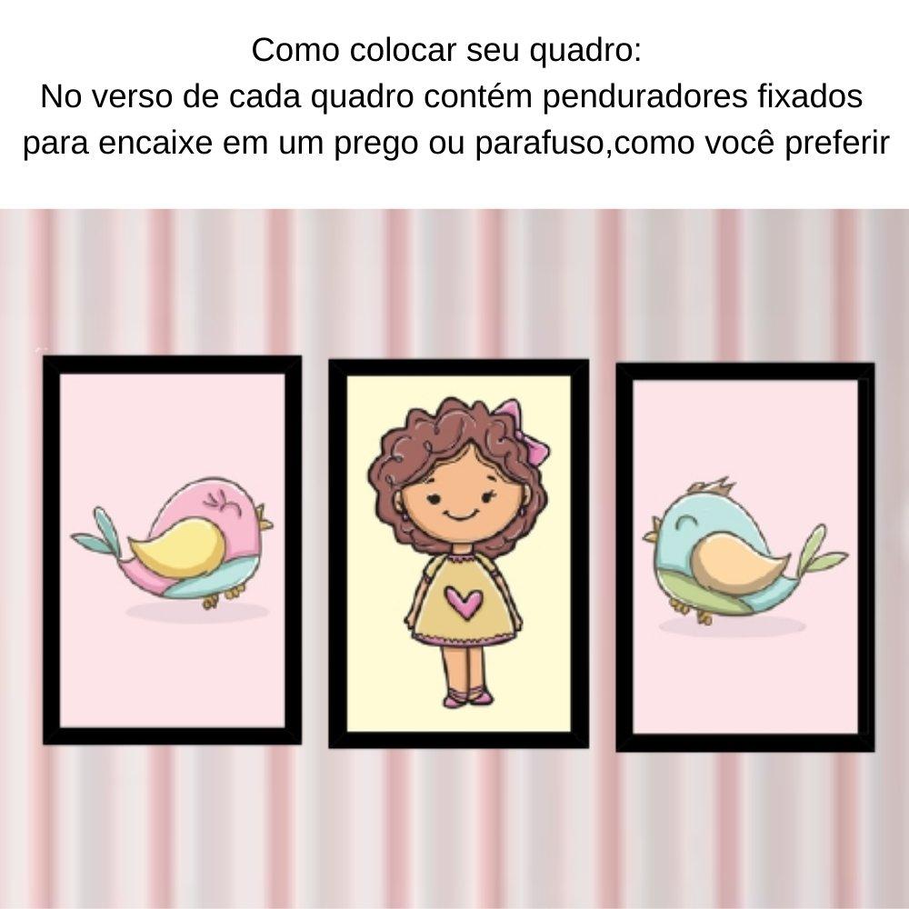 Quadro decorativo infantil menina com acrílico 40x30  preto