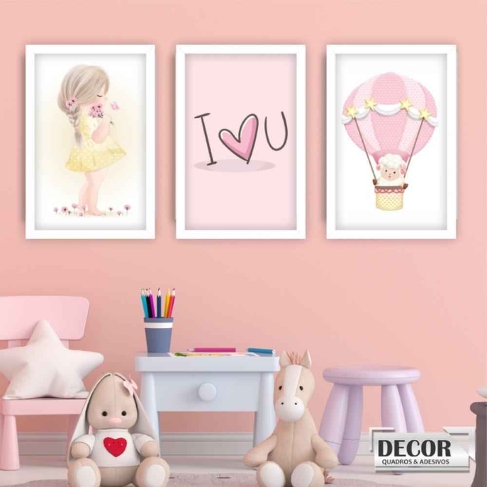 Quadro decorativo infantil menina labão com acrílico 40x30  branco