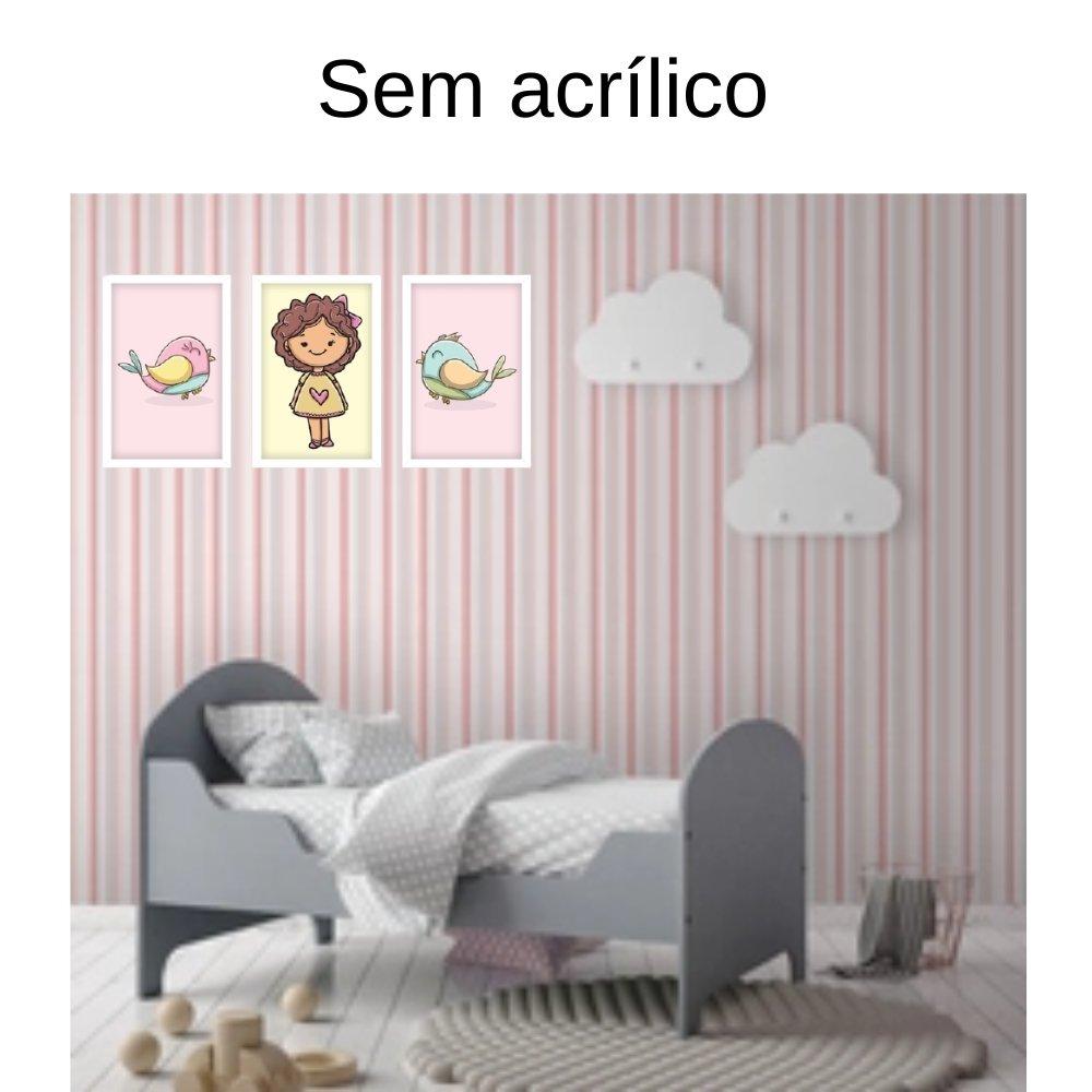Quadro decorativo infantil menina sem acrílico 30x20  branco