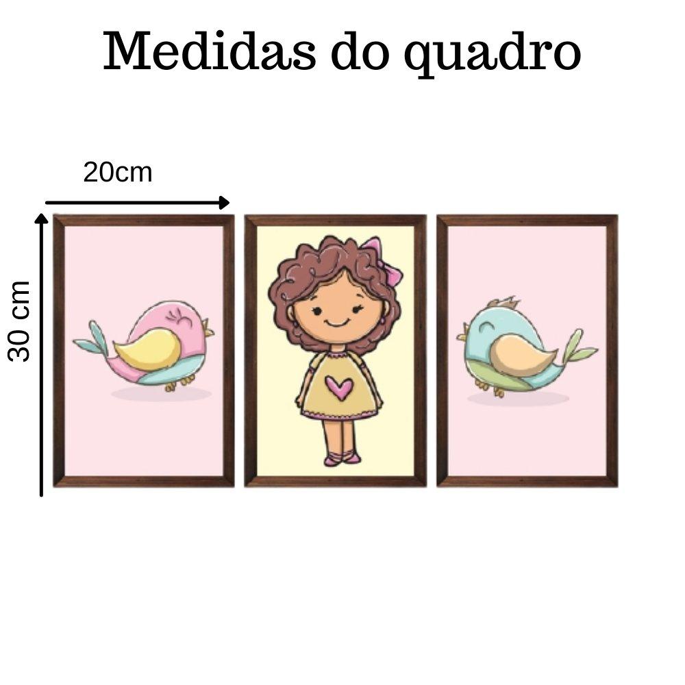 Quadro decorativo infantil menina sem acrílico 30x20  marrom