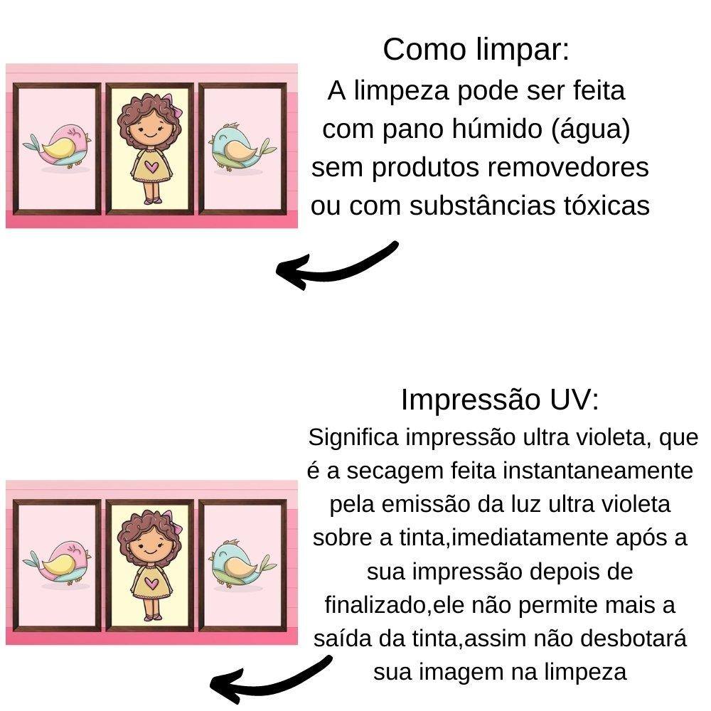 Quadro decorativo infantil menina sem acrílico 40x30  marrom
