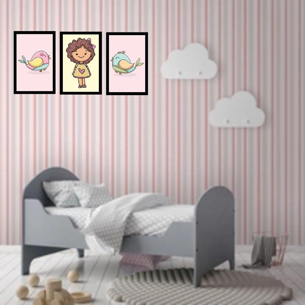 Quadro decorativo infantil menina sem acrílico 40x30  preto