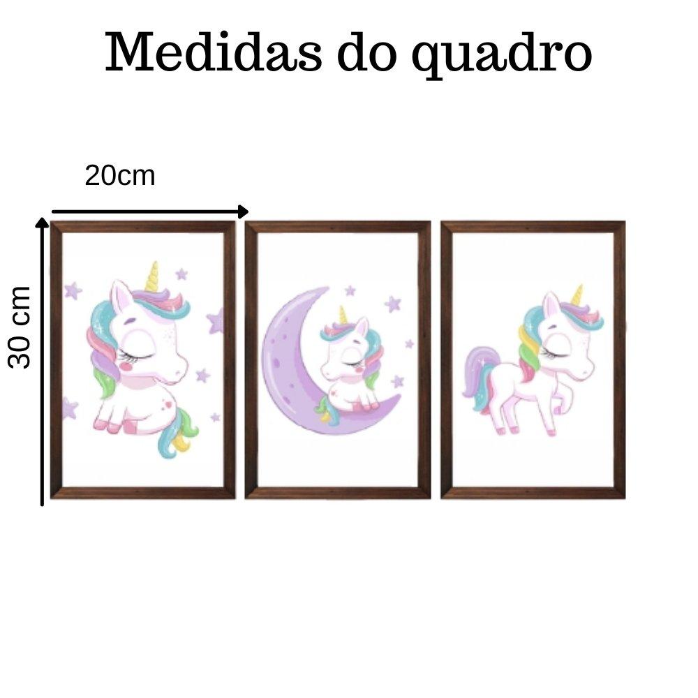 Quadro decorativo infantil menina unicórnio com acrílico 30x20  marrom