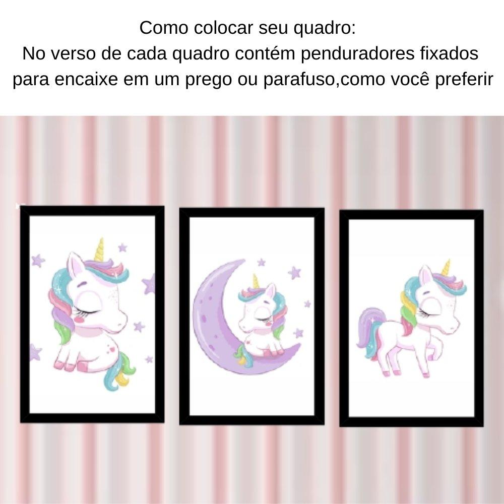 Quadro decorativo infantil menina unicórnio com acrílico 30x20  preto