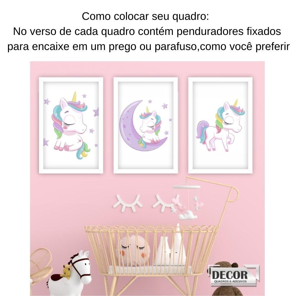 Quadro decorativo infantil menina unicórnio com acrílico 40x30  branco