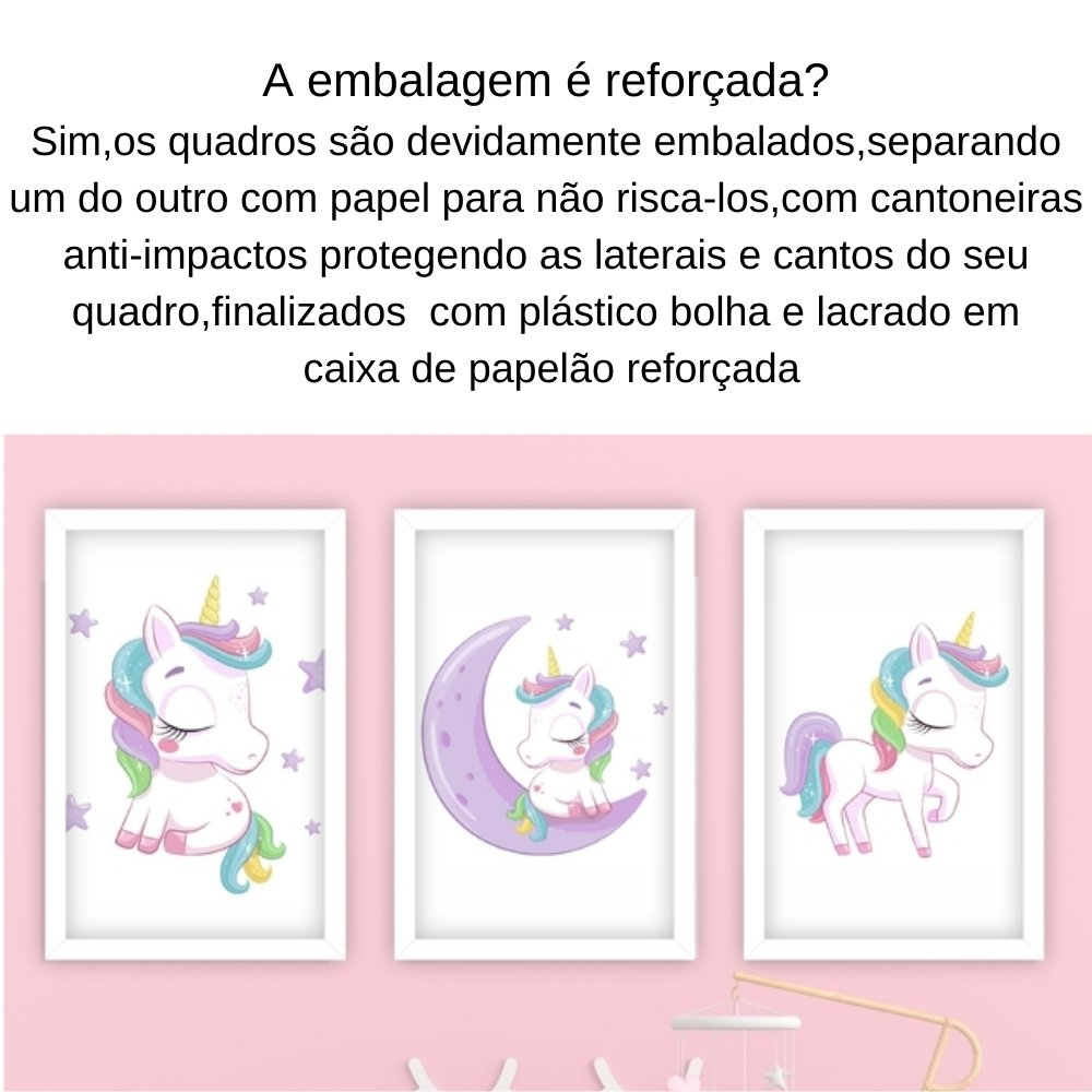 Quadro decorativo infantil menina unicórnio sem acrílico 30x20  branco