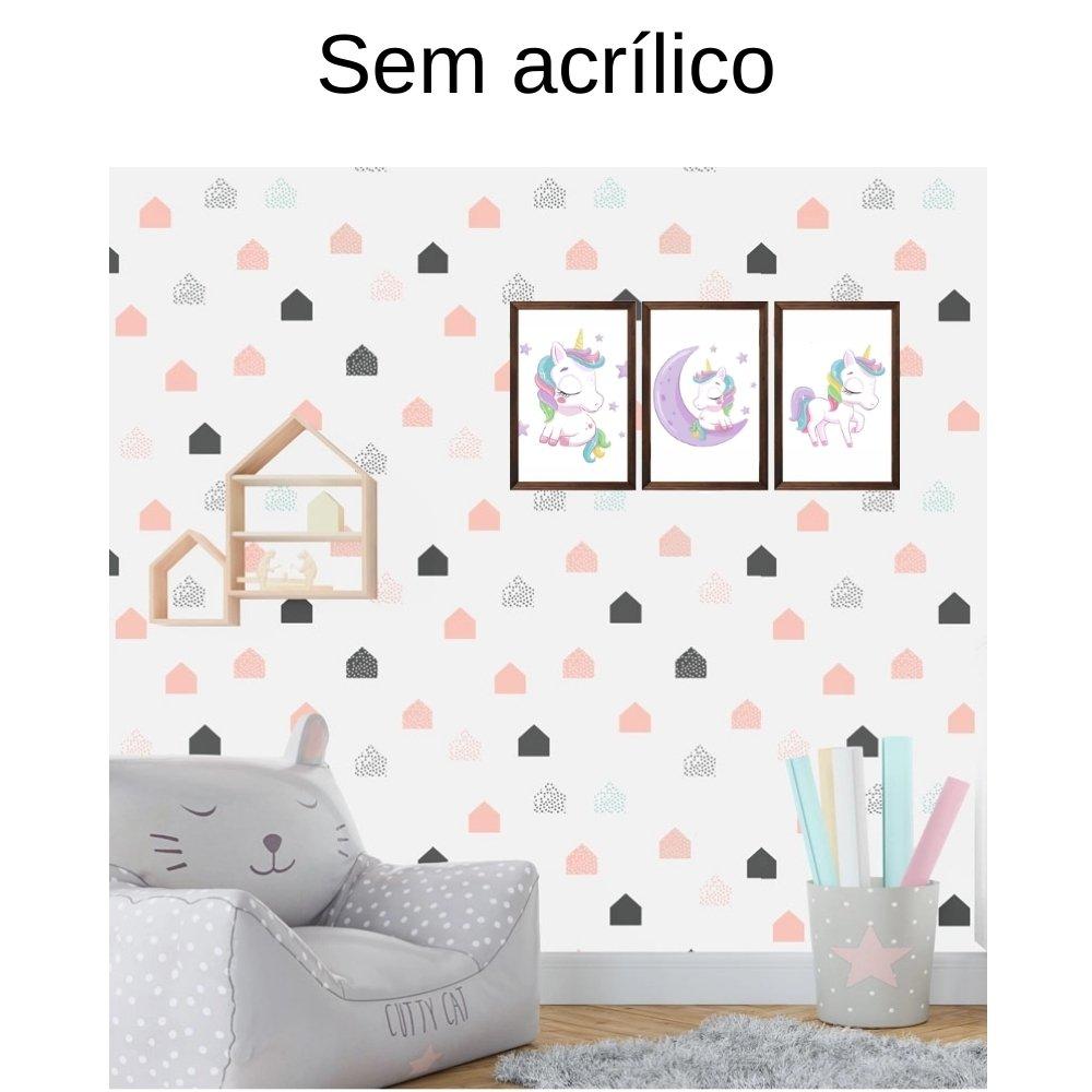 Quadro decorativo infantil menina unicórnio sem acrílico 30x20  marrom