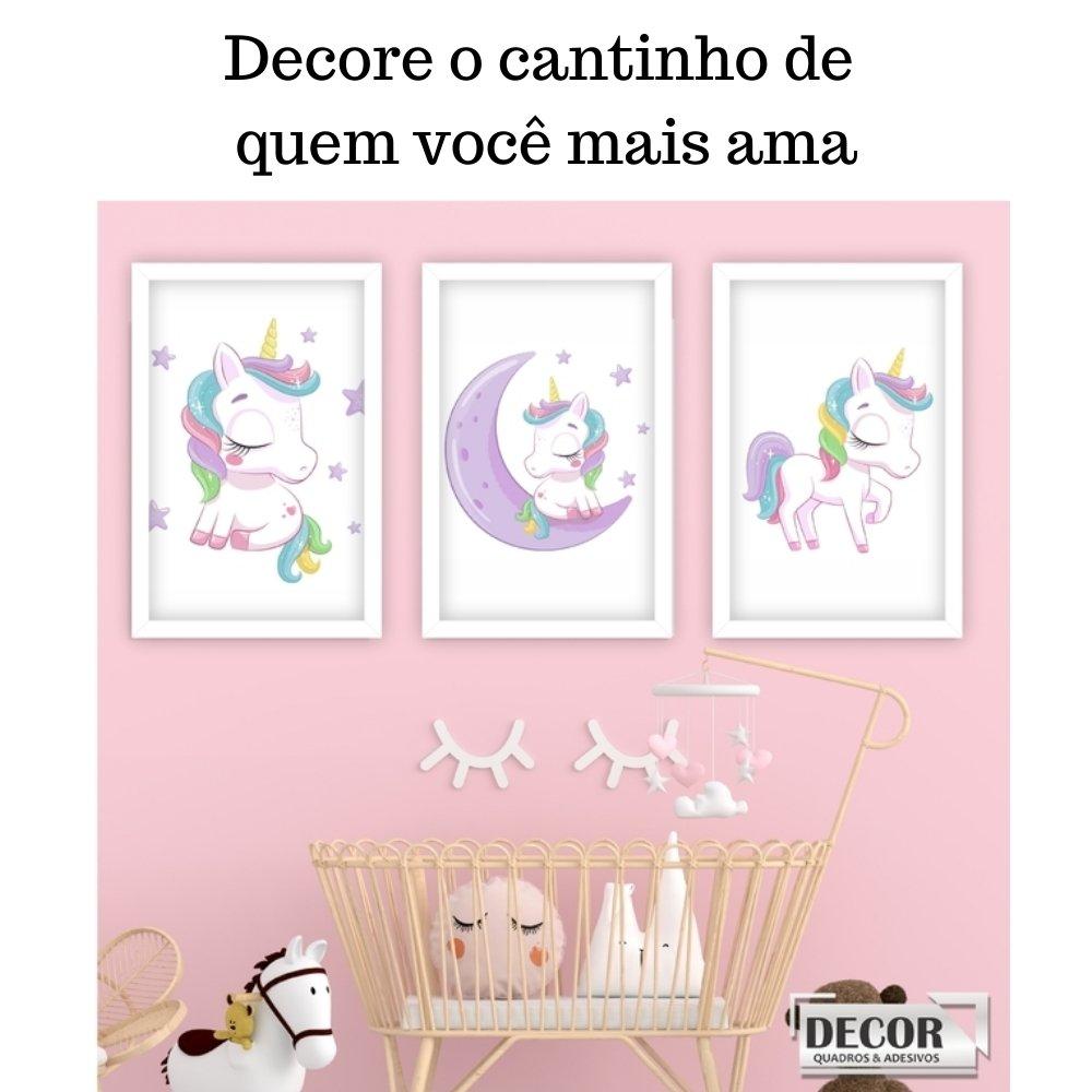 Quadro decorativo infantil menina unicórnio sem acrílico 40x30  branco