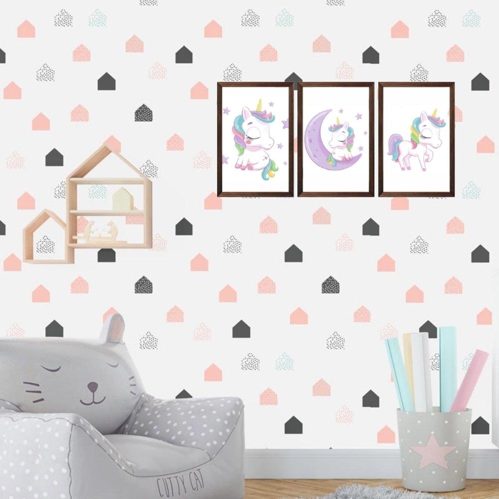 Quadro decorativo infantil menina unicórnio sem acrílico 40x30  marrom