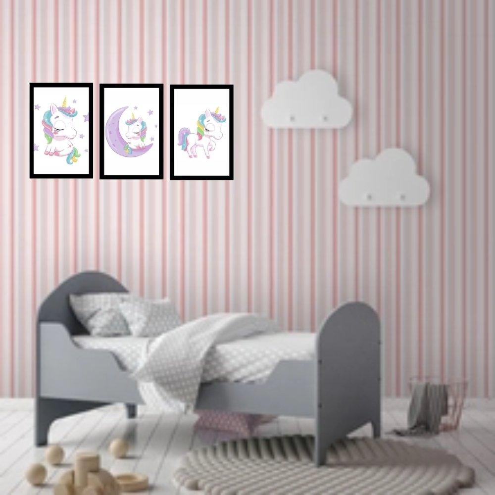 Quadro decorativo infantil menina unicórnio sem acrílico 40x30  preto