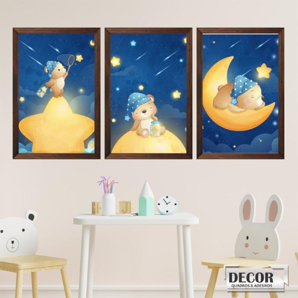 Quadro decorativo infantil menino ursinho com acrílico 30x20  marrom
