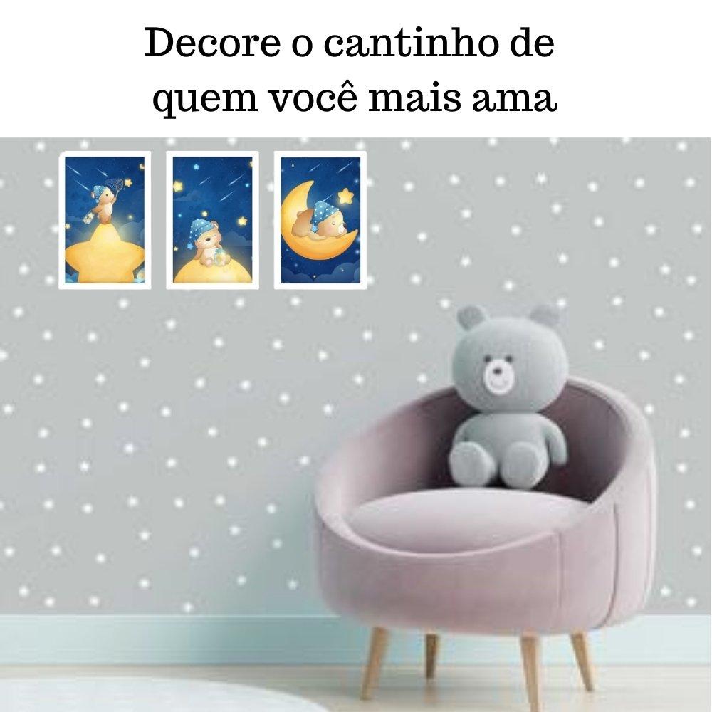 Quadro decorativo infantil menino ursinho sem acrílico 30x20  branco