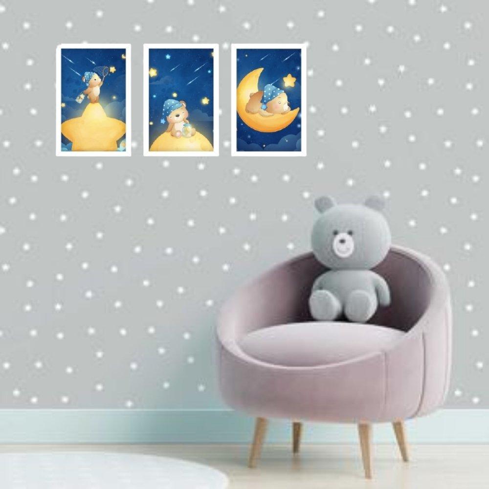 Quadro decorativo infantil menino ursinho sem acrílico 40x30  branco