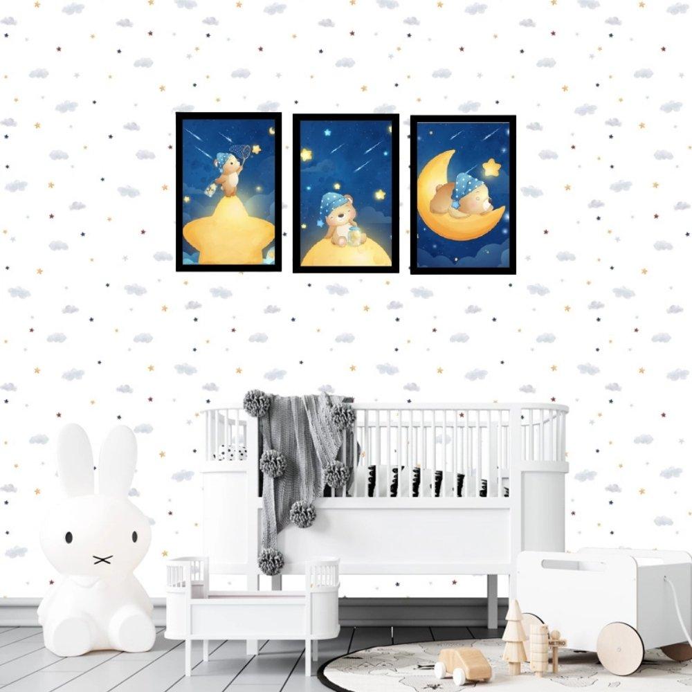 Quadro decorativo infantil menino ursinho sem acrílico 40x30  preto