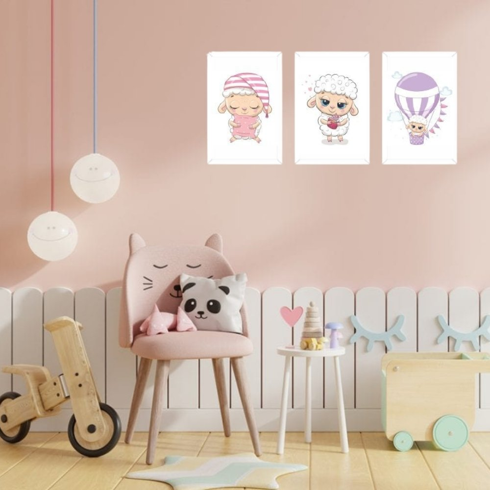 Quadro decorativo infantil ovelha com acrílico 30x20  branco