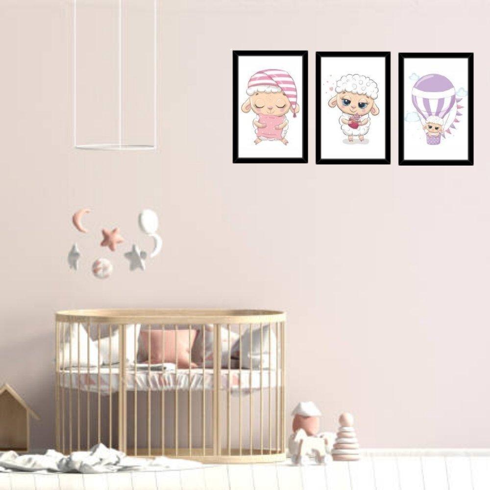 Quadro decorativo infantil ovelha com acrílico 30x20  preto