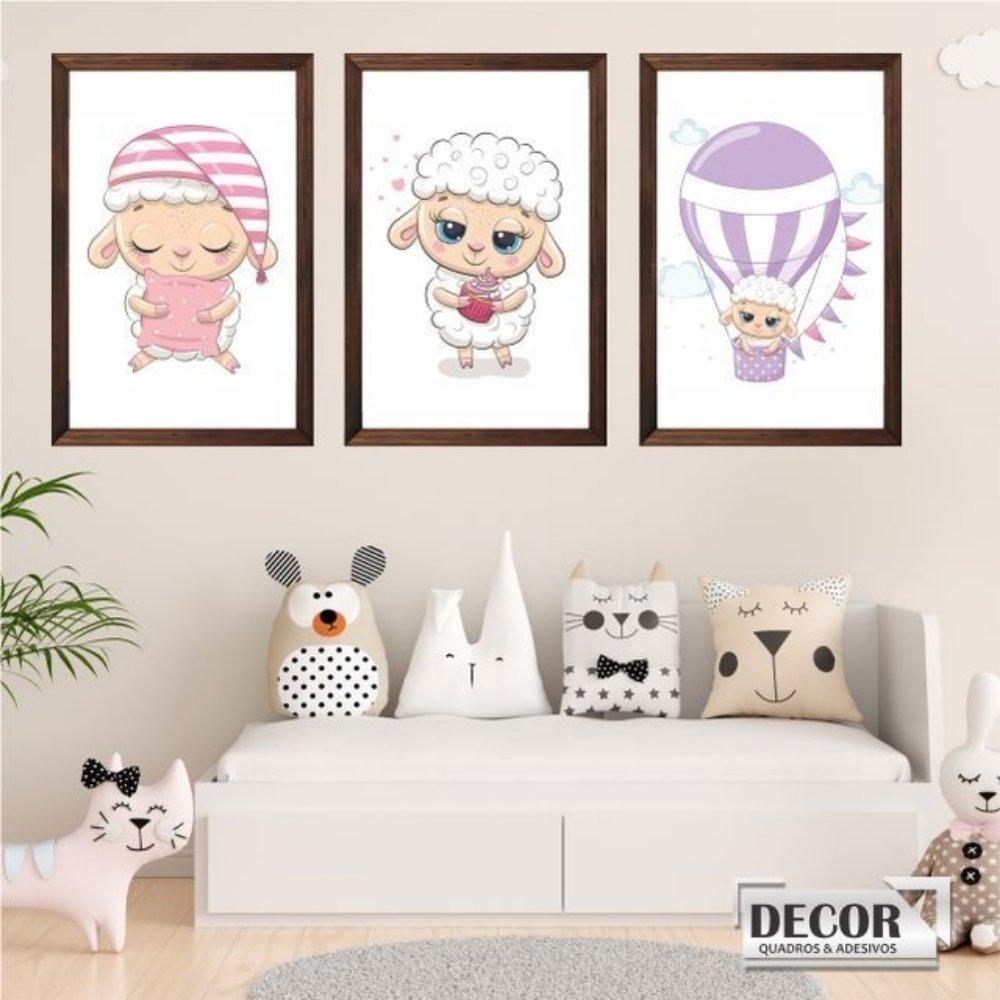 Quadro decorativo infantil ovelha com acrílico 40x30  marrom