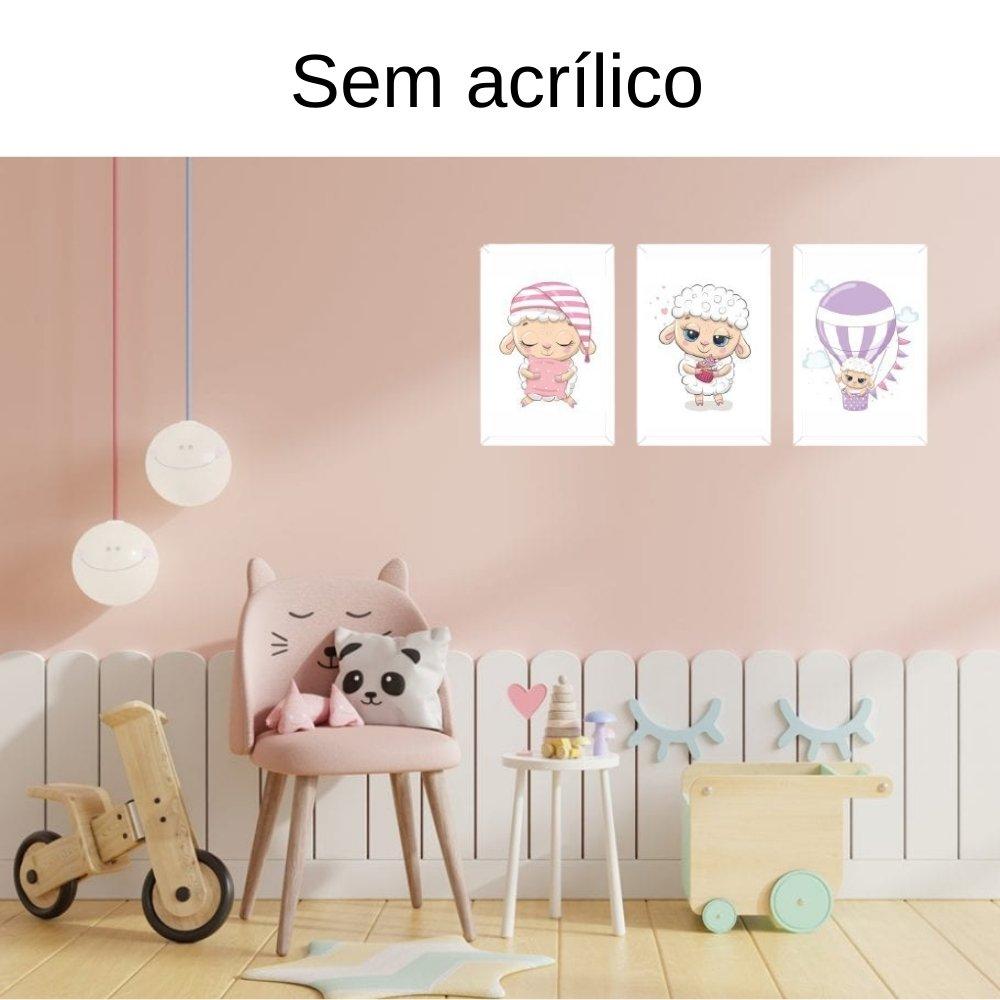 Quadro decorativo infantil ovelha sem acrílico 40x30  branco