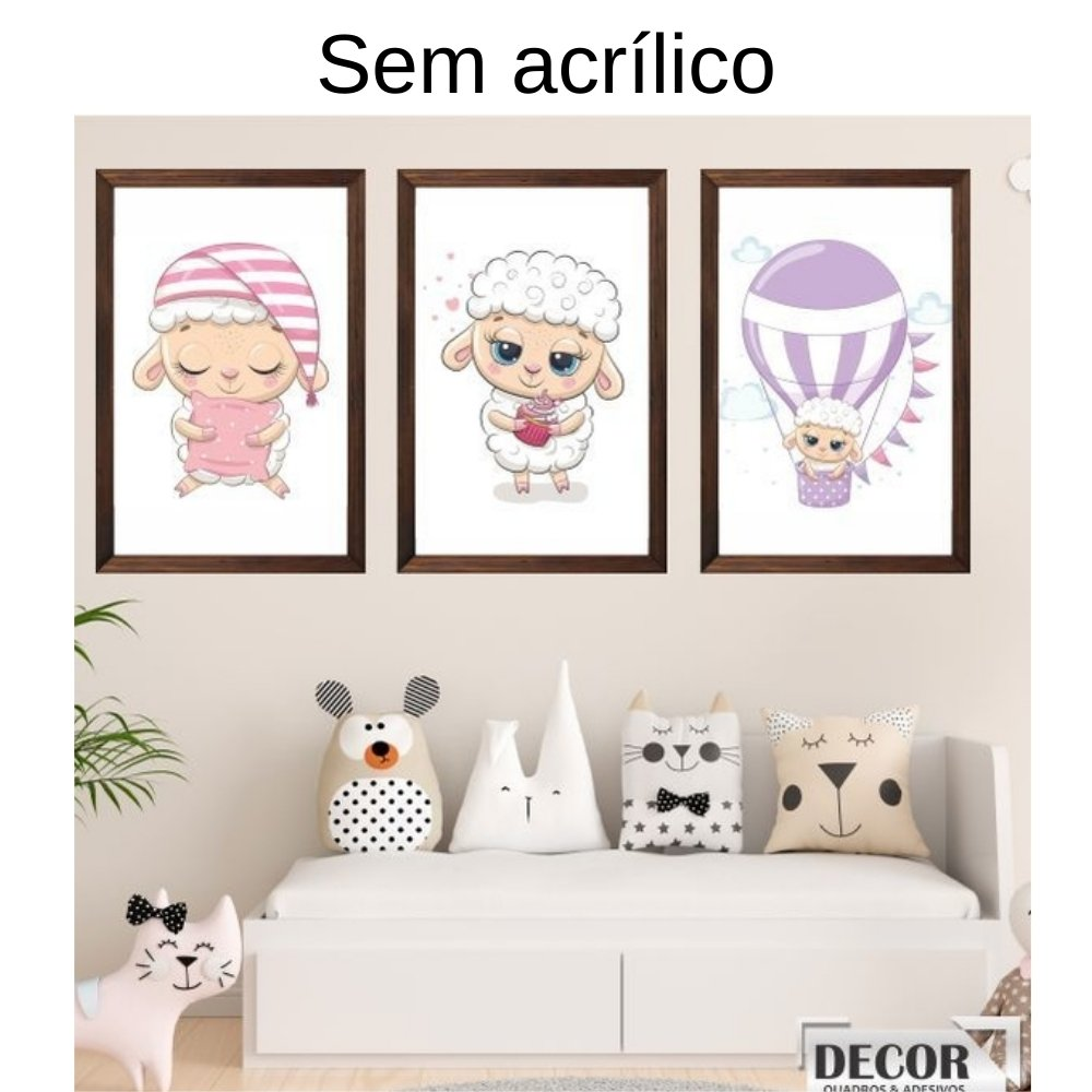 Quadro decorativo infantil ovelha sem acrílico 40x30  marrom