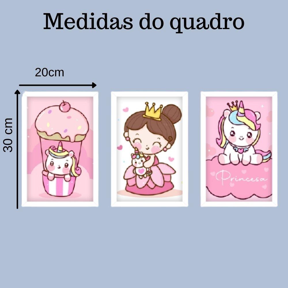 Quadro decorativo infantil princesa unicórnio com acrílico 30x20  branco