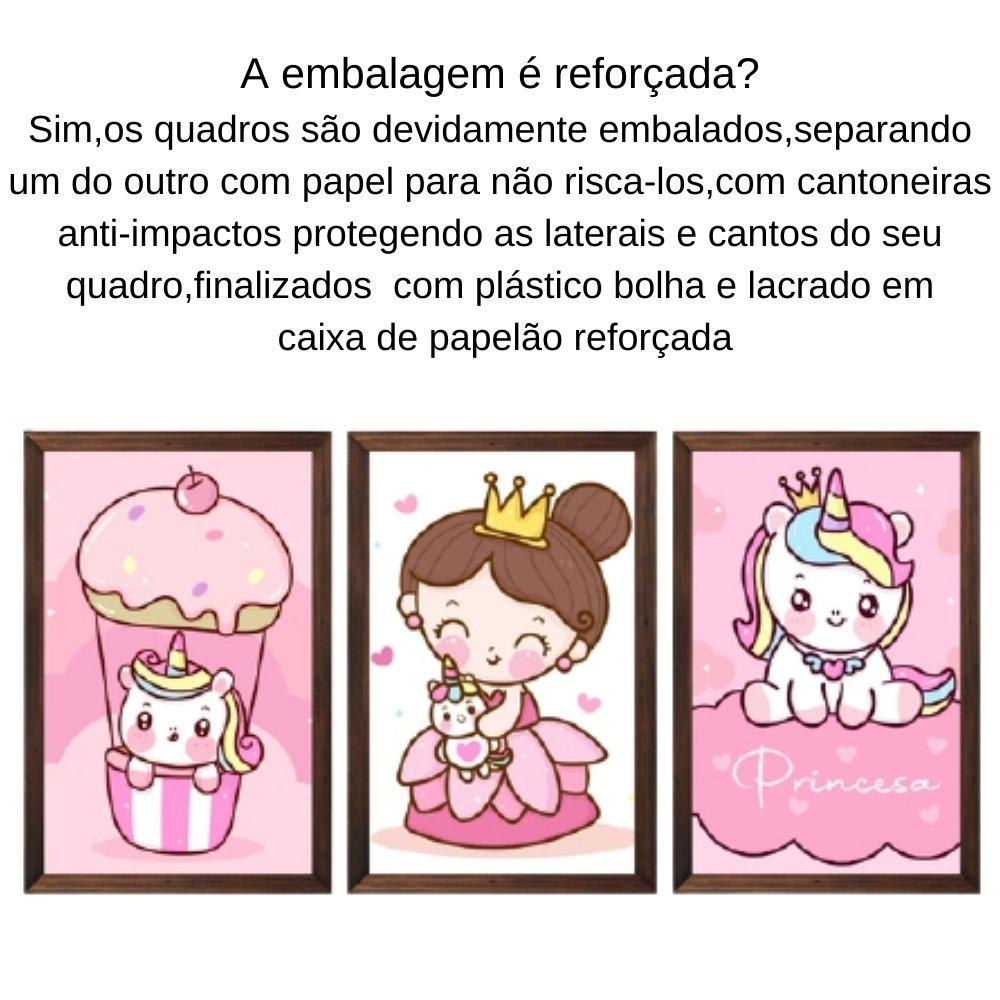 Quadro decorativo infantil princesa unicórnio com acrílico 30x20  marrom