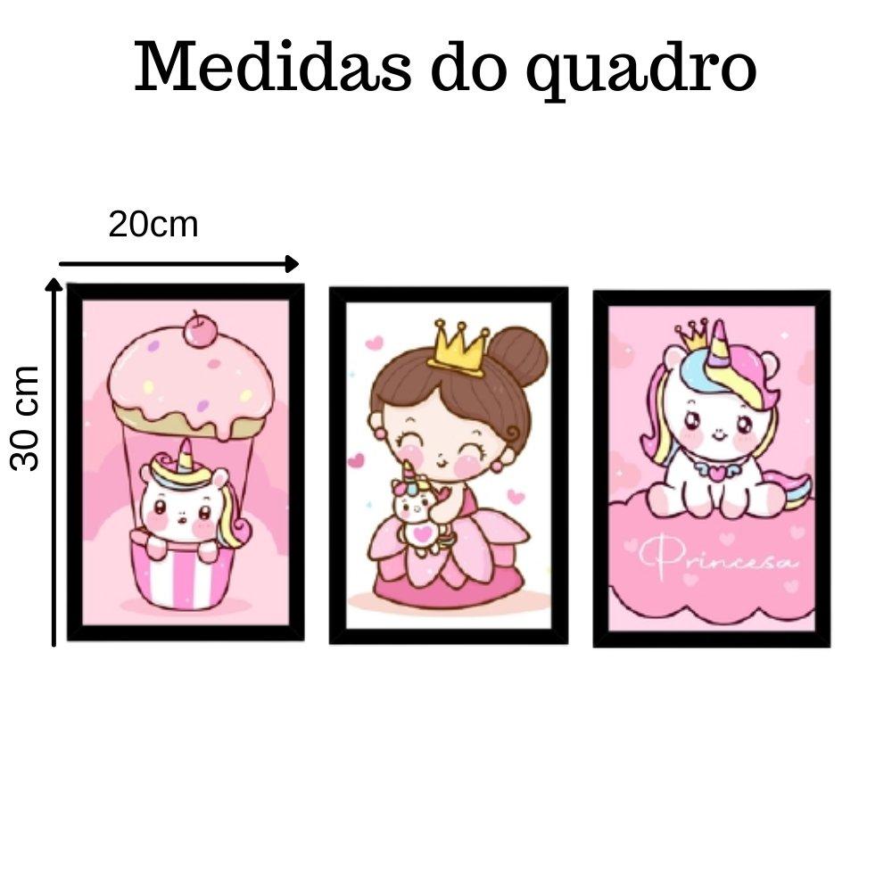 Quadro decorativo infantil princesa unicórnio com acrílico 30x20  preto