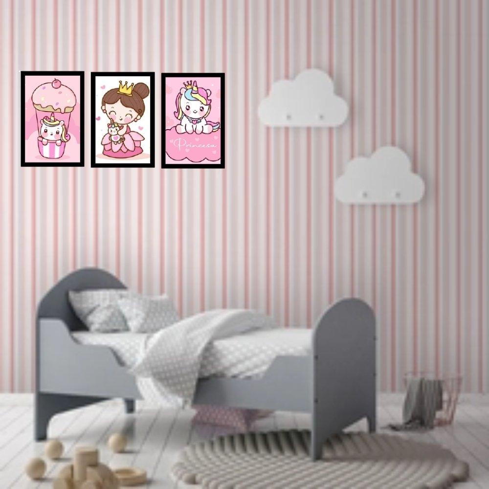 Quadro decorativo infantil princesa unicórnio com acrílico 40x30  preto