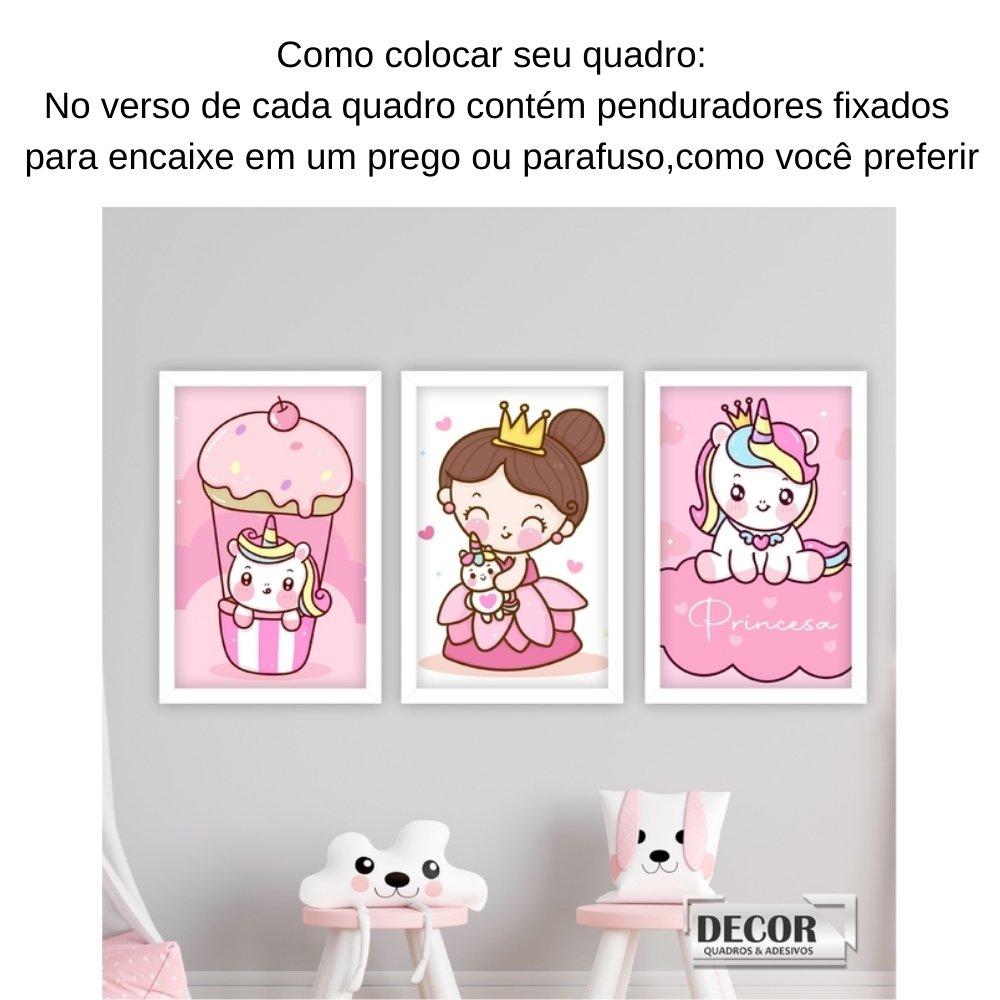 Quadro decorativo infantil princesa unicórnio sem acrílico 30x20  branco