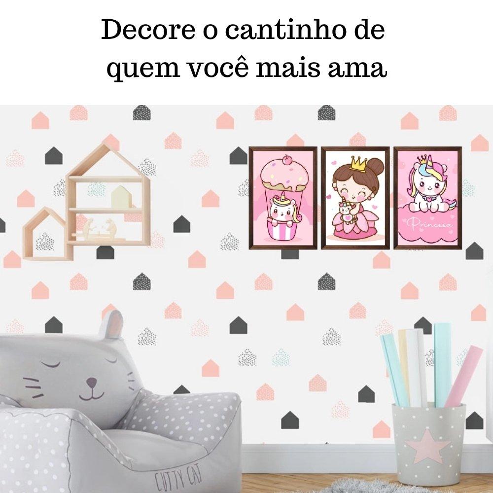 Quadro decorativo infantil princesa unicórnio sem acrílico 30x20  marrom