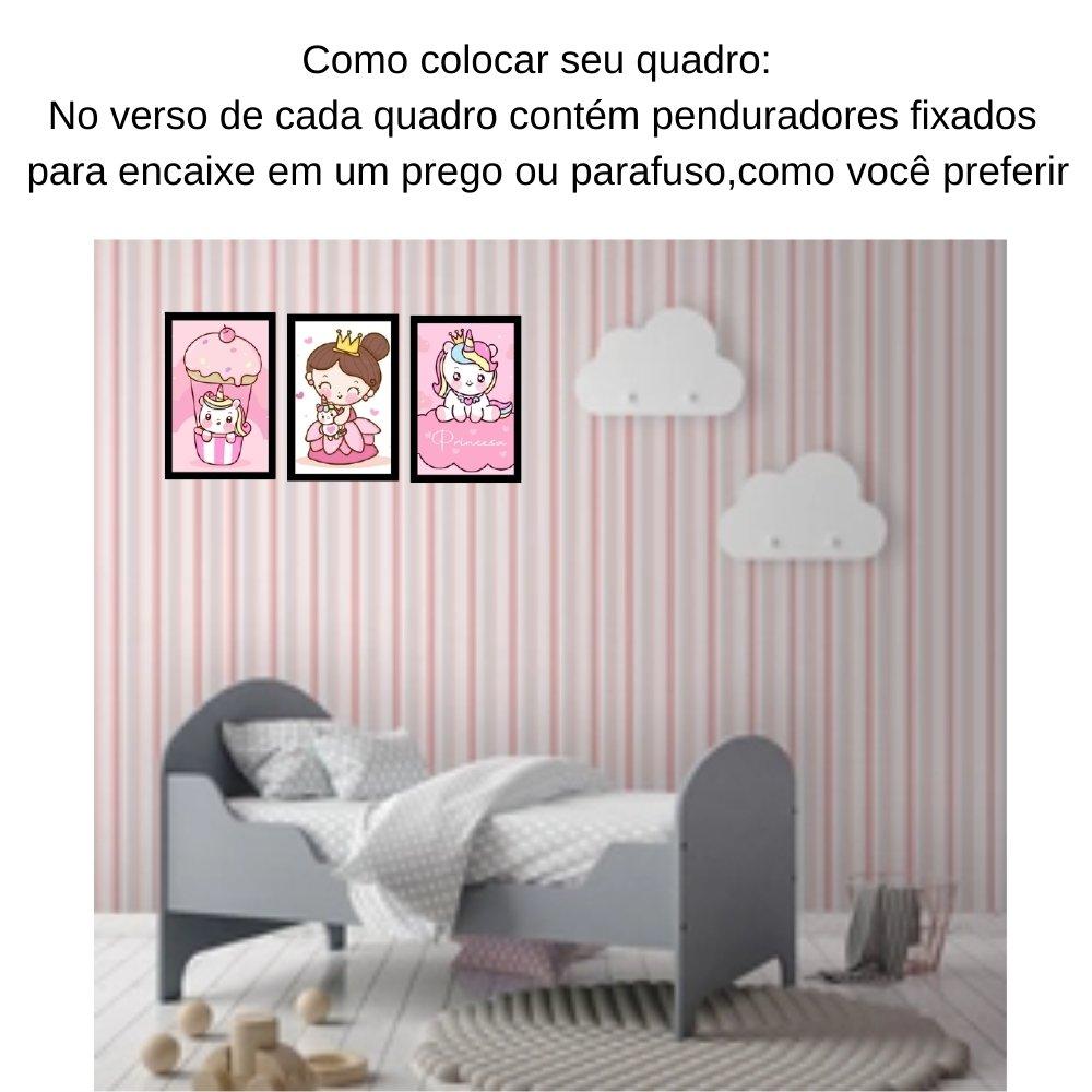 Quadro decorativo infantil princesa unicórnio sem acrílico 30x20  preto