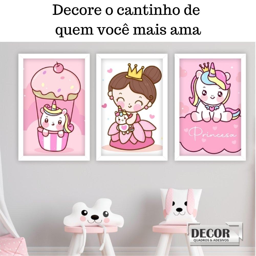 Quadro decorativo infantil princesa unicórnio sem acrílico 40x30  branco