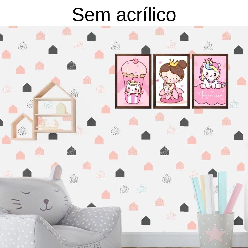 Quadro decorativo infantil princesa unicórnio sem acrílico 40x30  marrom