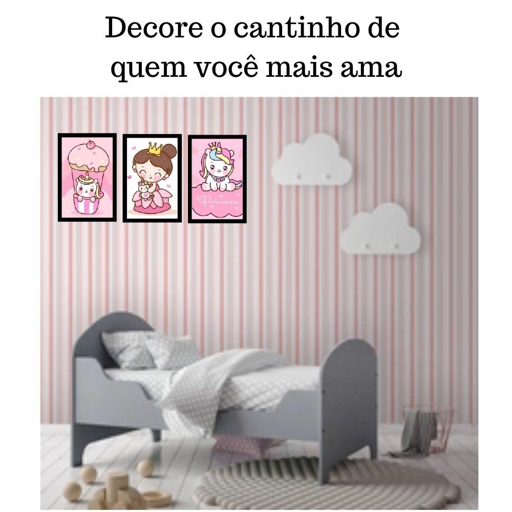 Quadro decorativo infantil princesa unicórnio sem acrílico 40x30  preto