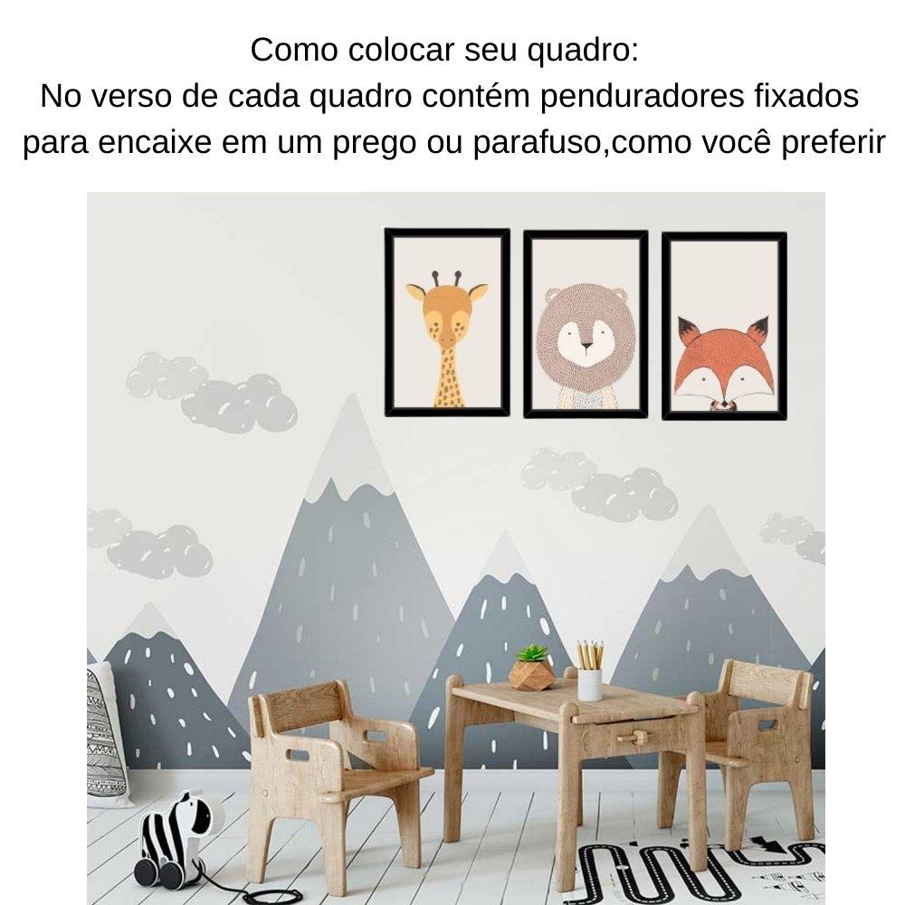 Quadro decorativo infantil safari animal com acrílico 30x20  preto