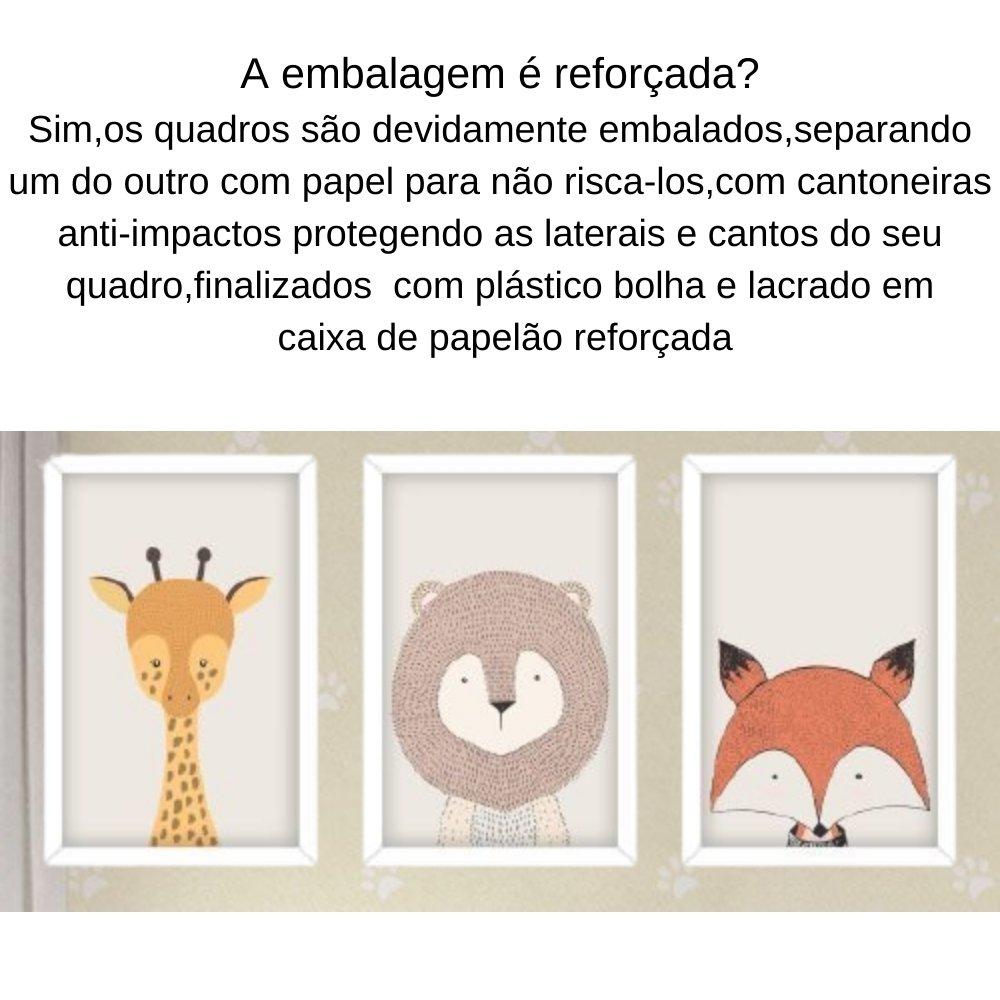 Quadro decorativo infantil safari animal com acrílico 40x30  branco