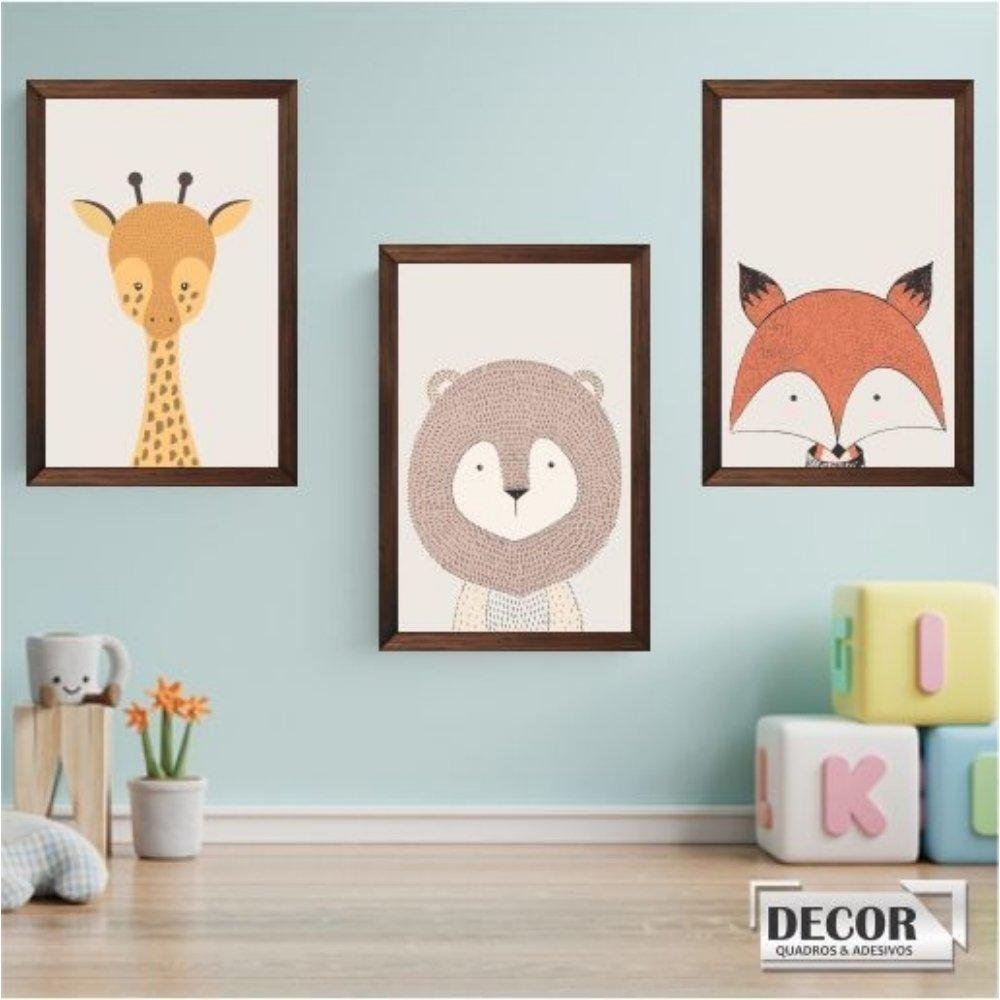 Quadro decorativo infantil safari animal com acrílico 40x30  marrom