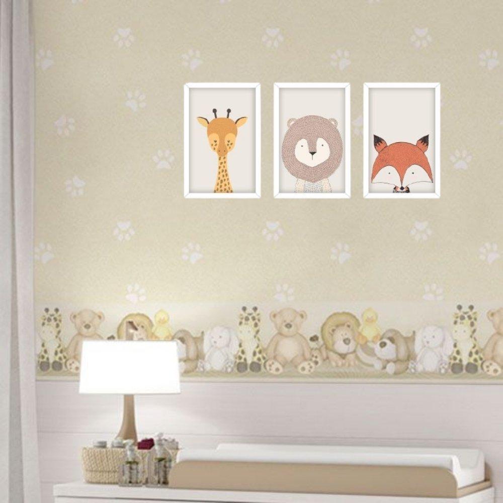 Quadro decorativo infantil safari animal sem acrílico 30x20  branco