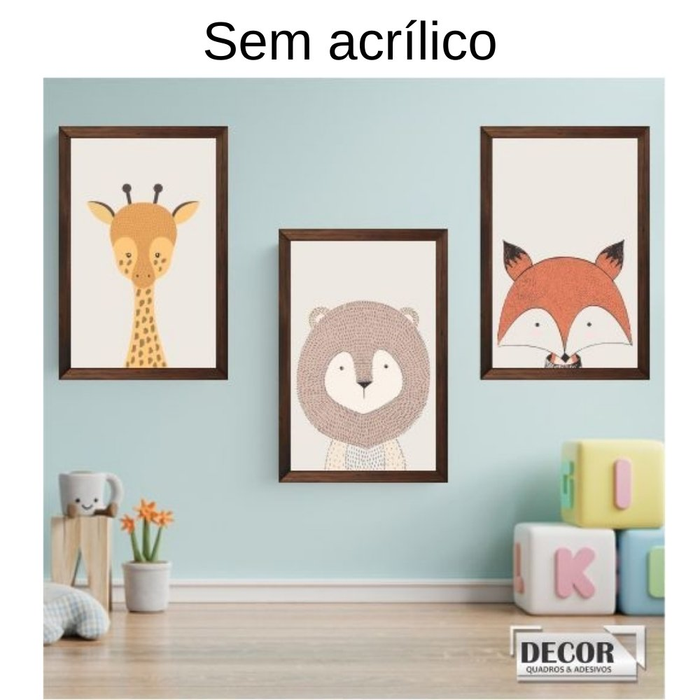 Quadro decorativo infantil safari animal sem acrílico 30x20  marrom