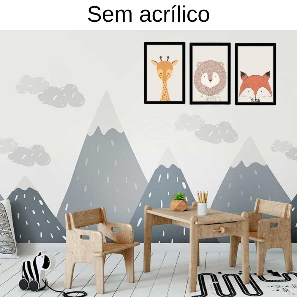 Quadro decorativo infantil safari animal sem acrílico 30x20  preto