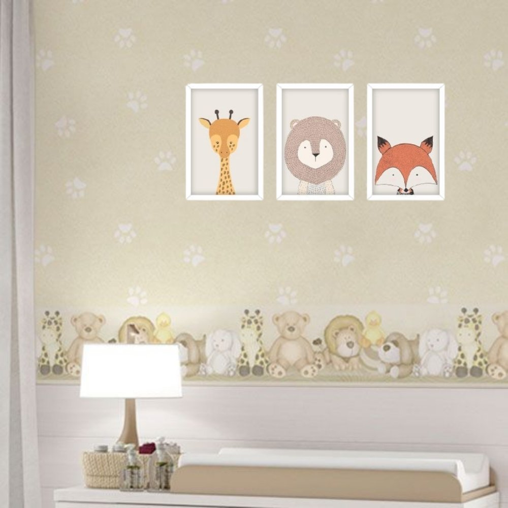 Quadro decorativo infantil safari animal sem acrílico 40x30  branco
